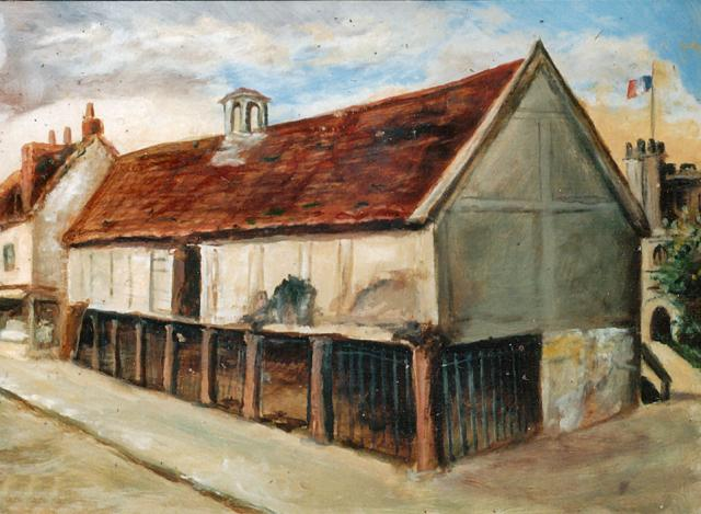 Painting of Tring Market House in the High Street in front of the church where the bus stop is today.