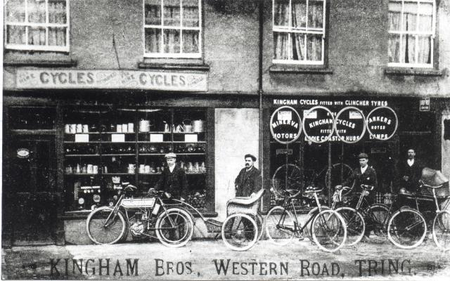 Kingham's Cycle shop in Western Road, Tring. c1890