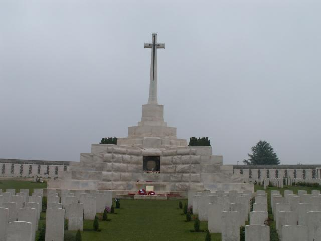 The cemetery was established around a captured German blockhouse or pill-box used as an advanced dressing station.