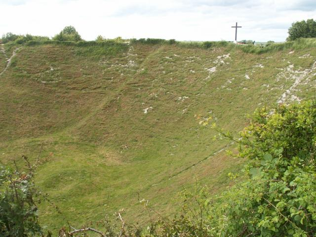 The crater itself was caused by two charges of ammonal, of 24,000lb and 30,000lb.