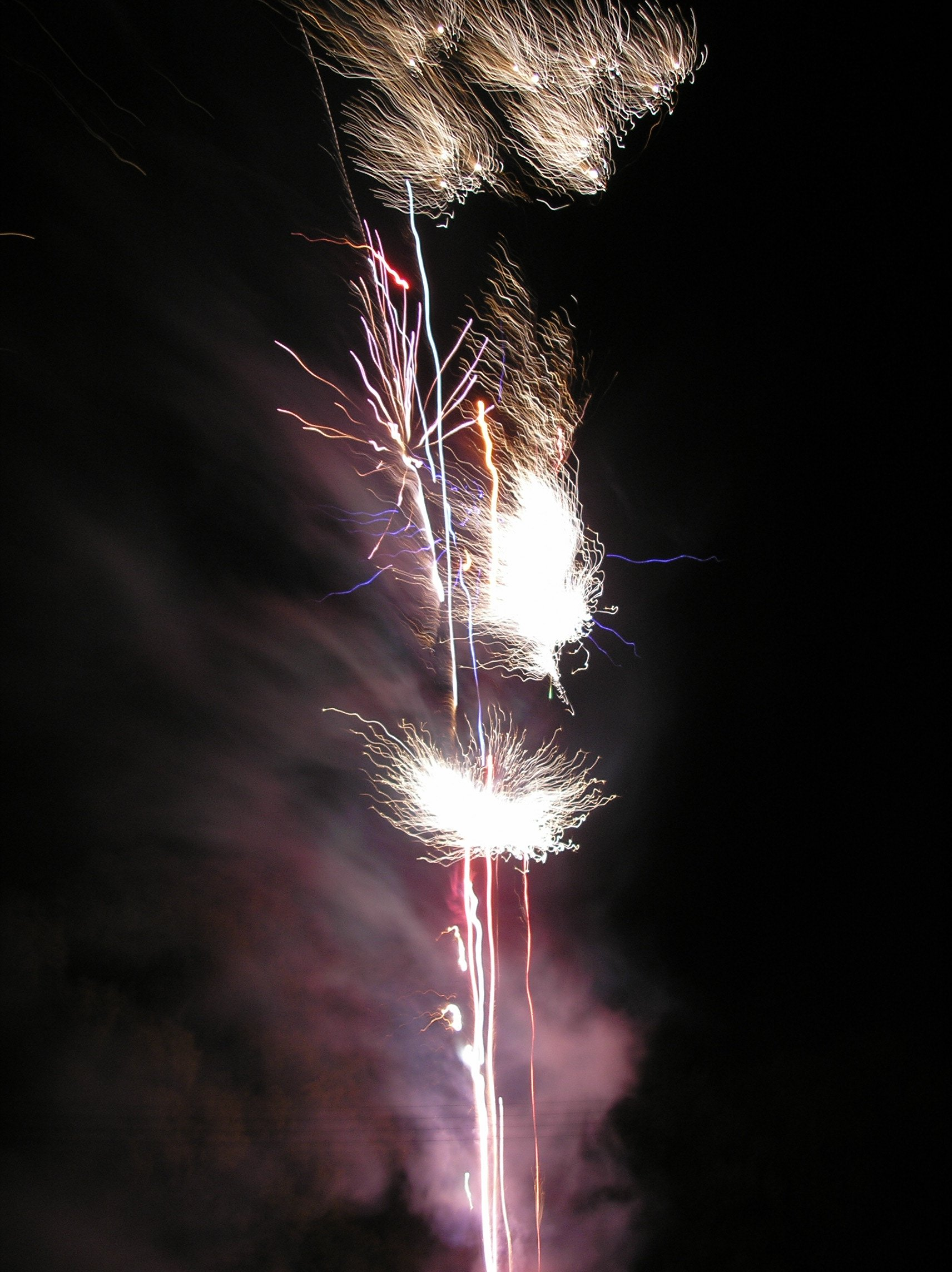 Fireworks at the village bonfore celebrations in Tostock, Suffolk November 2008