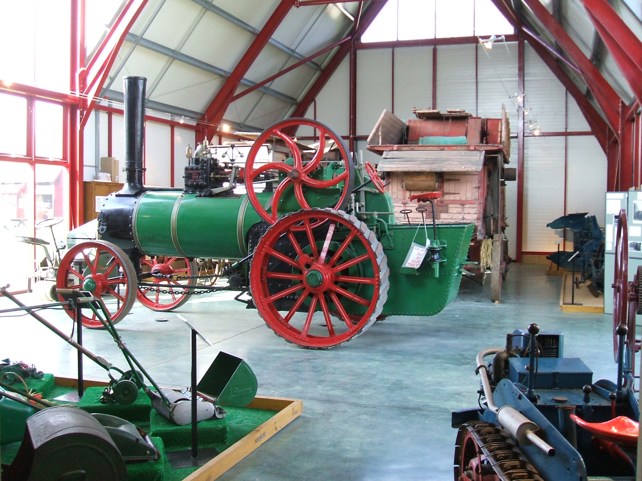 The Bone Building holds the Museum of East Anglian Life's collection of arefacts from the Ransomes company of Ipswich. The steam engine in the picture was used by nuns in Ireland before it came to the Museum.