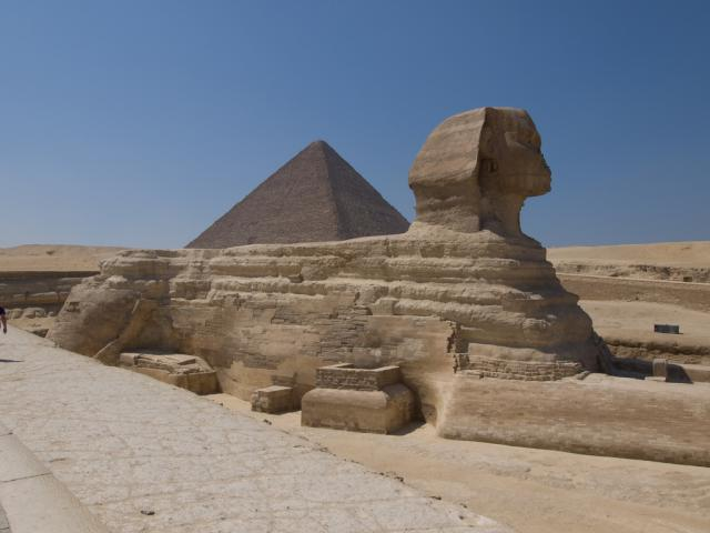 The Great Sphinx of Giza. With the head of King Khafre or King Khufu (father and son in that order)
