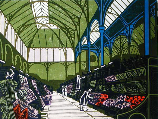 "From a a set of lithographs ""London Markets"" printed at the Curwen Press in 1967"