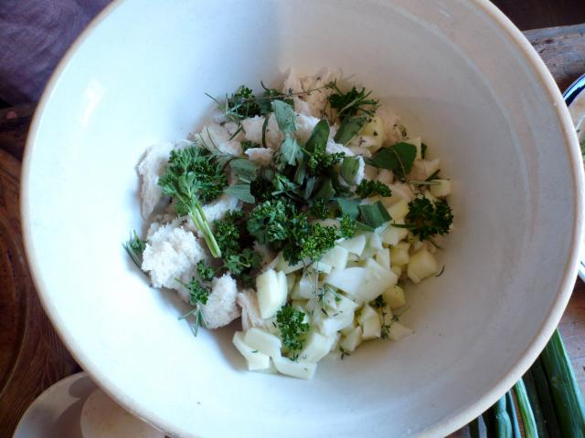 Chopped ingredients for stuffing