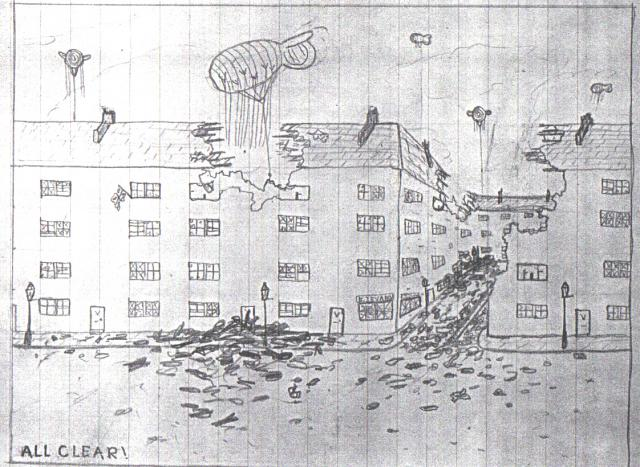 Reg Colmans child drawing of the damage caused by bombing