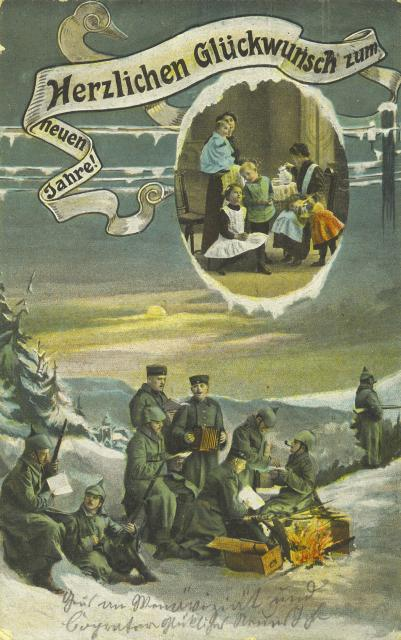 A German Christmas card from World War One. The banner offers congratulations for the new year.