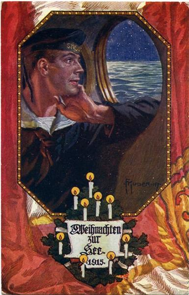 A German Christmas card form World War One. The text reads 'Christmas at Sea 1915'.