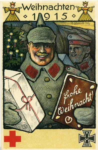 A Christmas card from World War One, 1915.