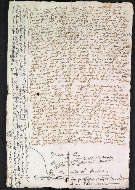 This is the will in Dutch of Adrian Loy of Halstead, alien, made on 9 September 1585. Before he died in 1587 he added another clause to his will (in black ink). The will was proved on 6 September 1587. A second copy is in English and there is a partial transcript. 