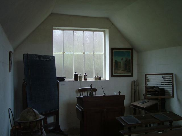 A small Victorian school classroom.