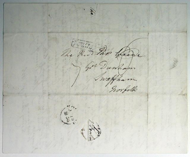 This letter addressed to The Reverend Thomas Greene of Great Dunham, Swaffham, Norfolk from John Humfrey, Wroxham, Norfolk was written on January 19 1836. There was no envelope - the letter was folded and addressed on the back page then sealed.
