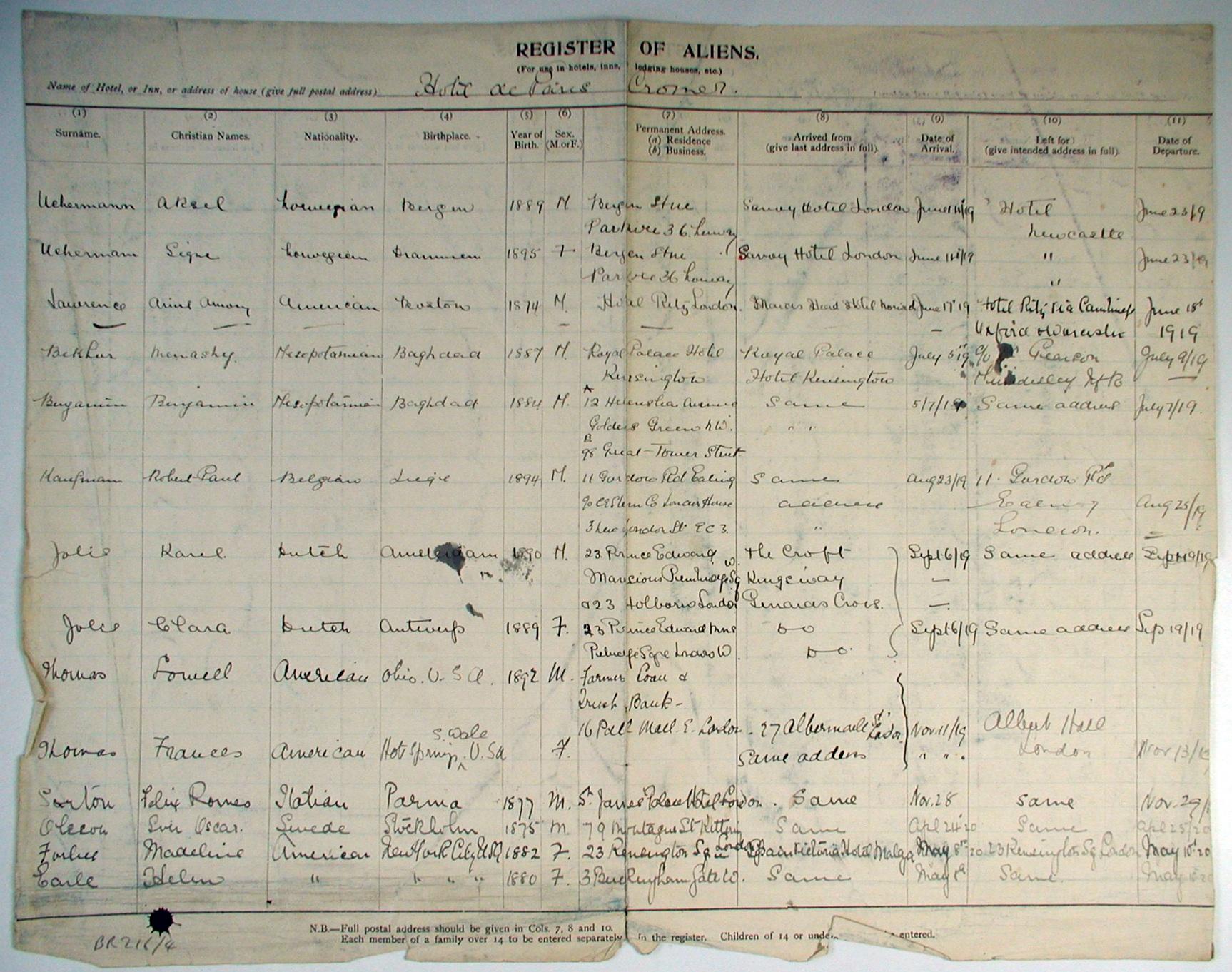 Register of Aliens Hotel de Paris, Cromer 1919-20: NEN Gallery