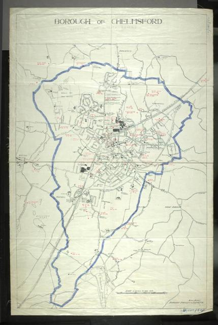 This map of the Borough of Chelmsford indicates where bombs fell during the 2nd World War.