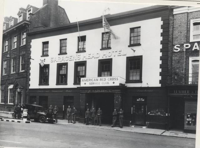 The Saracens Head Hotel, which can still be seen on Chelmsford's High Street, was taken over by the American Red Cross and used as a hostel for American servicemen from February 1943. The premises was known as the 'American Club'. It provided accomodation for 30 men and the dining hall and kitchen p...