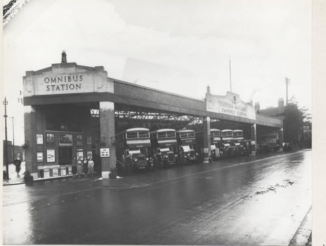 Chelmsford Bus Station was newly opened in 1931, when this picture was taken. However on Friday 14 May 1943 a 250kg bomb hit the Eastern National Bus Station in Duke Street. It destroyed 13 buses and caused fires to spread and damage local houses.