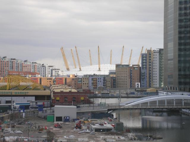 This photo shows some of the building around Canary Wharf and West India Quay. The buildings here include the HSBC and Barclays buildings. Also in the distance can be seen the O2 Dome.
