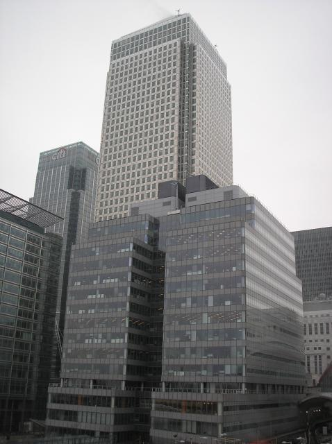 This photo shows Canary Wharf. The extensive business development is located on the Isle of Dogs in the London Borough of Tower Hamlets. It is centred on the old West India Docks much of which was destroyed in WW2.