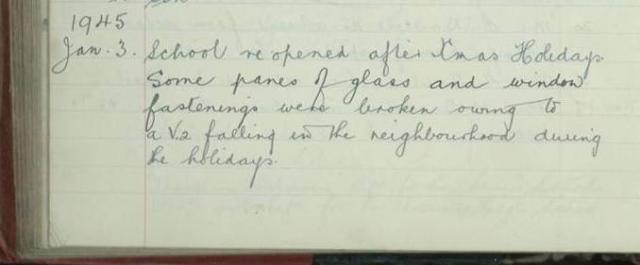 These log book entries from January and February 1945 show the affect of the war on Chelmsford Cathedral Church of England Primary School, then only for boys.