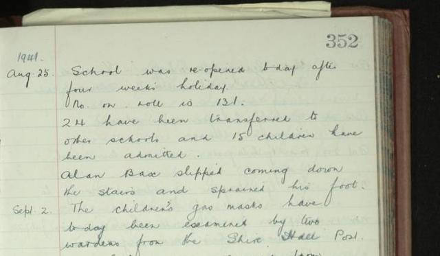 This abstract from Chelmsford Cathedral School's log book from September 1941 shows the affects of the Second World War on school life, as gas masks needed to be checked regularly, even though poison gas was never used by the Germans.