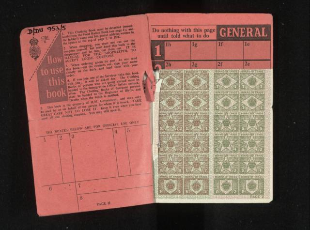 During the Second World War clothes were rationed as there was a shortage of material, so you had to collect enough coupons to be able to 'buy' certain items, for example a pair of men's trousers was worth 6 coupons, a ladies blouse, jumper or cardigan was worth 5 coupons and a child's woollen dress...