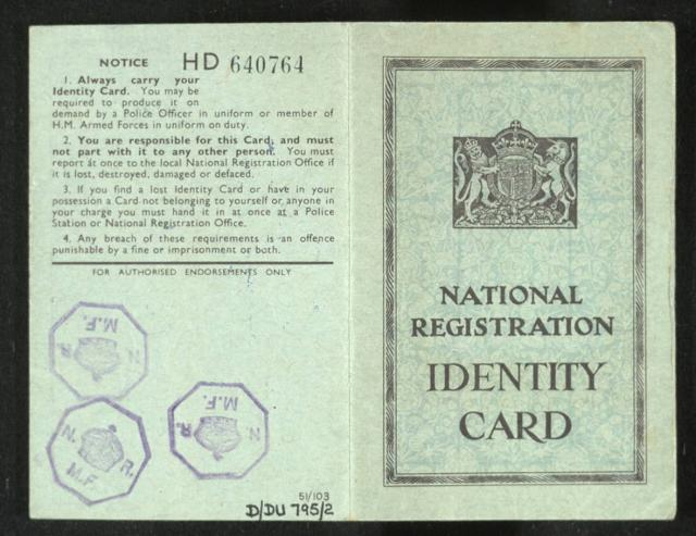 Identity cards had to be carried by everyone to prove who they were and where they lived.