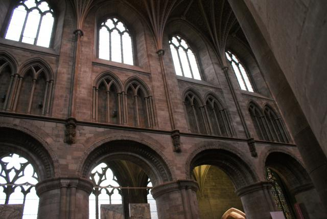 The interior (arches and windows or the nave) of Hereford Cathedral, Hereford, England, UK.