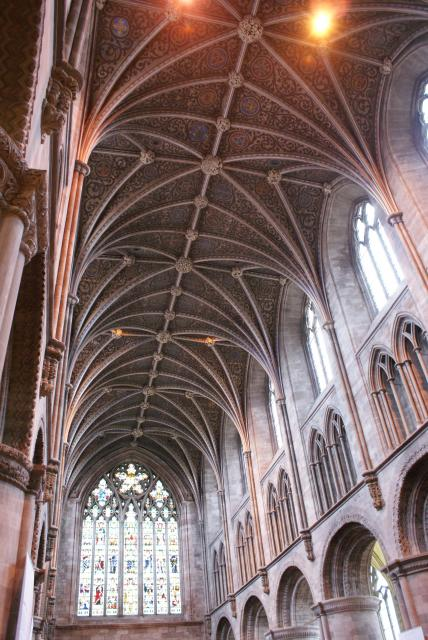 The interior (with mahgnificent ceiling) of Hereford Cathedral, Hereford, England, UK.