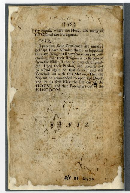 This speech was made in the House of Commons by Sir John Knight in 1693. He was arguing against the naturalizing of foreigners.