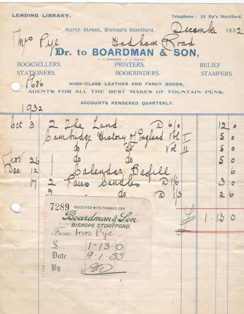 This receipt dates from 1932 and is for books and other stationary equipment brought from Boardman and Son shop in Bishop's Stortford. It is from our Miss Pye collection, a prominent woman in the town born at the beginning of the twentieth century