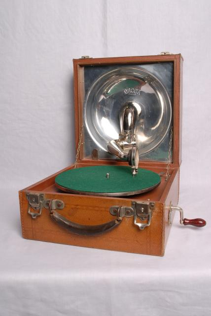 This is an example of gramophones which were taken into the trenches by officers in World War One.
