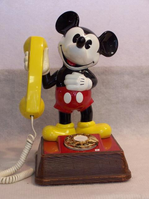A novelty Mickie Mouse Telephone made in 1976, notice the dial, now telephones are made with buttons.