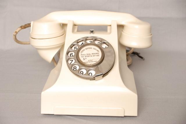 Dating from the late 1930's and originally conceived in Sweden by Ericsson this is an improved version of the 232 type.  With self contained bell. Also available in red Black and green. Many variants are seen, some with internal bell generators, green handsets for scramble use (secrecy) or red hands...