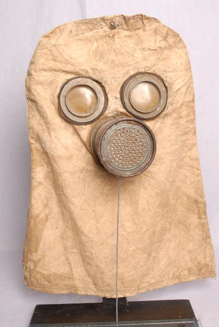 Non rubberised early gas mask used by the germans during ww1 the base