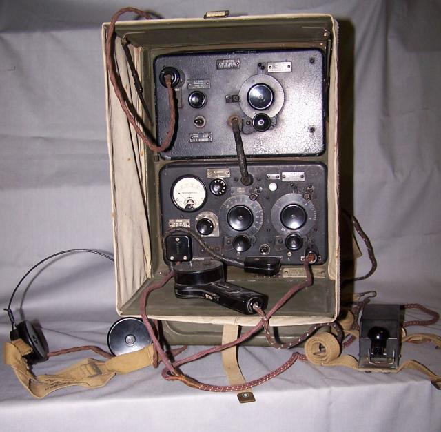 A manpack portable set for short range communications, carried by one man and operated by a second. Range with 11 ft rod over 5 miles using speech; 10 miles using CW (Morse). The front panels are normally grey, black panels were usually for special operations. First produced in 1940 by Pye Telecommu...