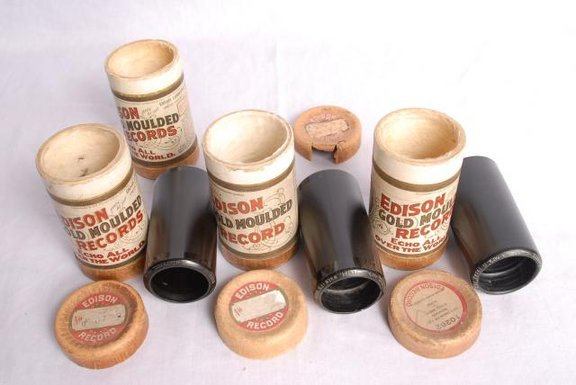 These are the wax cylinders that were used on the Edison Phonograph, we can demonstrate this item in the museum, the sound is very scratchy.