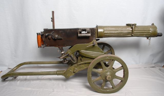 Used by the Russian Army during WW1 and also the Red Army during WW2, it was imported to many countries including China, 'Maxim Machine Gun' was adopted in 1910, and was replaced by the Gorunov SG-43 in 1943, although manufacturing did not cease until the end of the second world war. This one is dat...