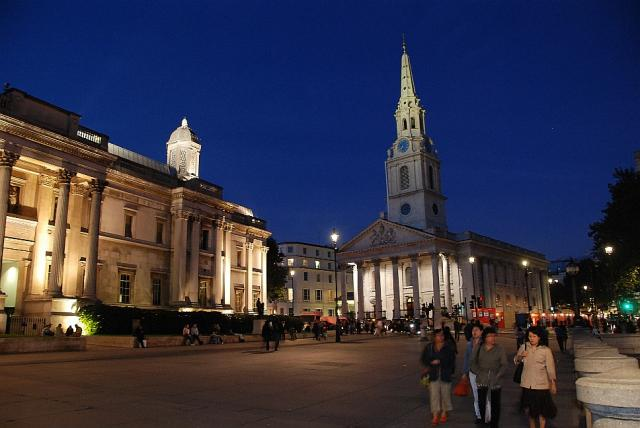 The National Gallery and St Martin in the Fields form the edge of Trafalgar Square