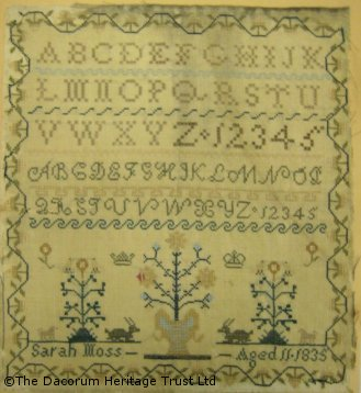During the Victorian times young girls aged between 5 & 11 produced samplers to teach them needlework skills; later they were used to teach literacy and numeracy skills.