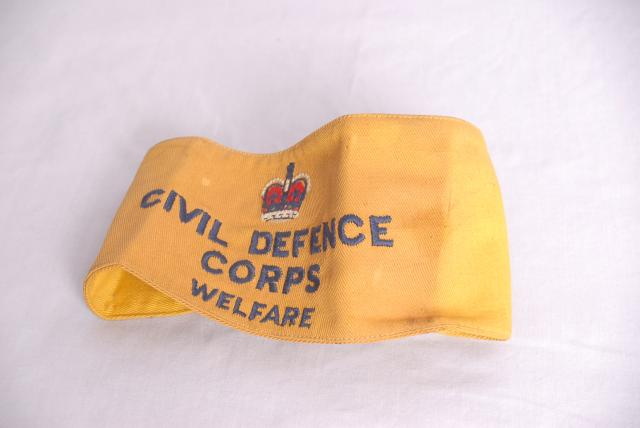 Arm band worn by the Welfare branch of the Civil Defence organisation during WW2.
