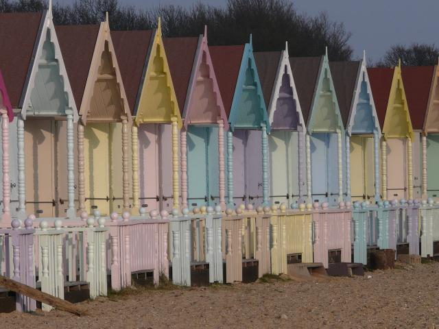 Beach huts at West Mersea, Essex.