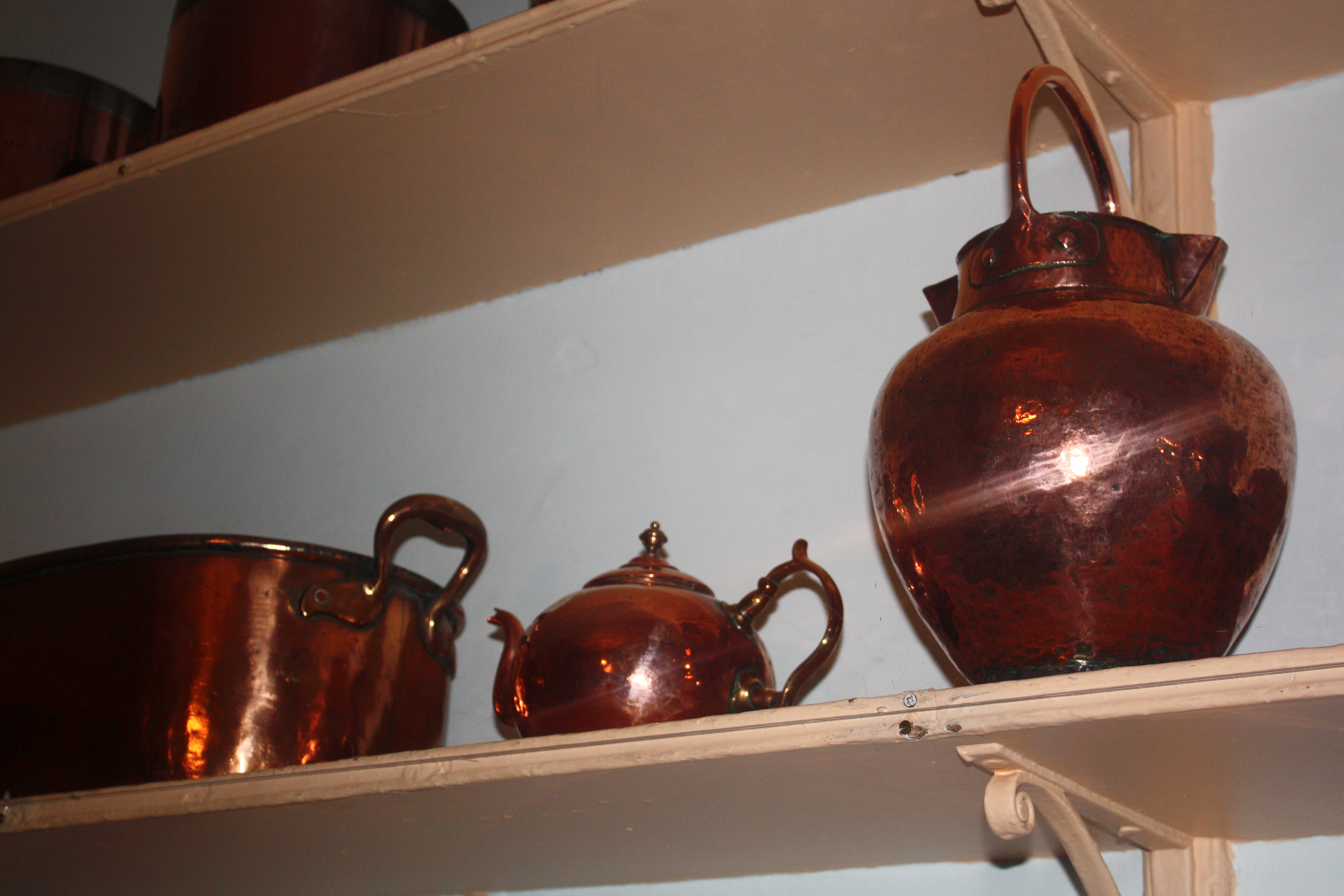 Most kitchen utensils were of copper or wood. China was consider too expensive for such a use and would only be used on serving dishes for the master and guests. Servants ate off pewter plates. With thanks to 'The Georgian House Museum', 7 Great George Street, Bristol, BS1 5RR.