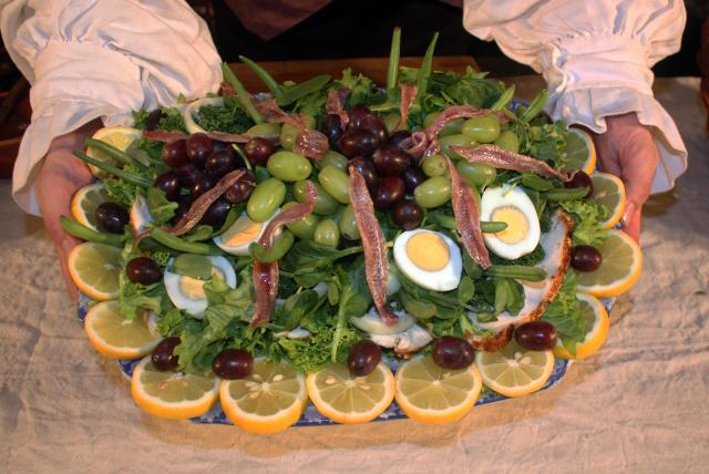 Elaborate salads became fashionable in the Georgian era as salad stuffs become more readily available. This salad would be a luxurious centre piece for a wealthy table.