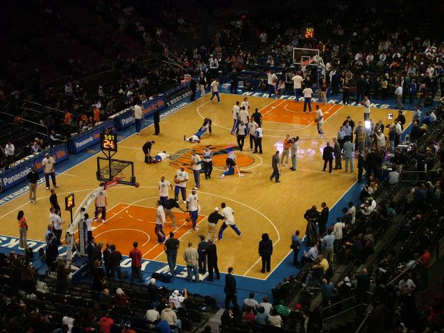 The New York Knicks vs. Detroit Pistons at Madison Square Garden 8th April 2009. Madison Square Garden is located in Manhattan on Seventh Avenue between 31st and 33rd Streets. The current MSG is the fourth to stand near this space. On February 14, 1968 Madison Square Garden IV opened after the Penns...