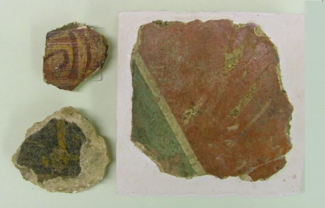 Painted wall plaster found at the roman Harlow temple site.