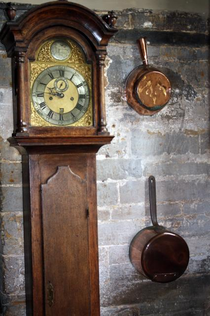Although clocks were an expensive item, meals needed to be served on time so many kitchens had a clock.