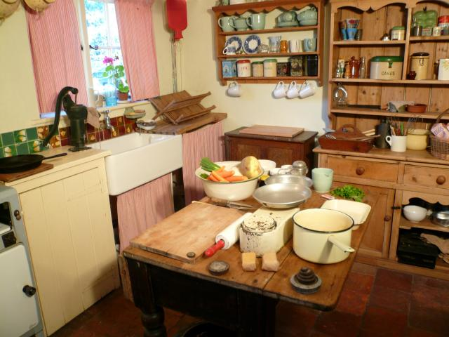 1940s kitchen showing table