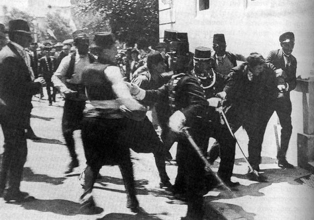 Arrest of Gavrilo Princip. Picture of Archduke Franz Ferdinand. On 28 June 1914, at approximately 1:15 pm, Franz Ferdinand and his wife were killed in Sarajevo, the capital of the Austro-Hungarian province of Bosnia and Herzegovina, by Gavrilo Princip, 19 at the time, a member of Young Bosnia and on...