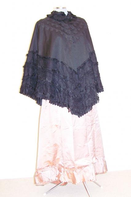 Victorian cape, heavy weight, padded, black, heavy embroidered, silk.