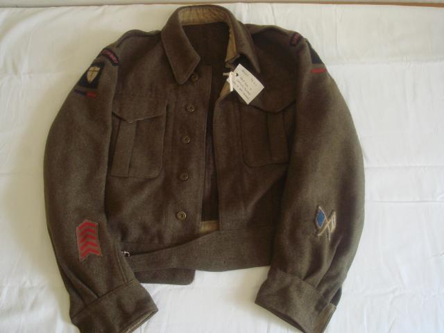 Tunic worn by Bert Lawrence while serving in the Shropshire Yeomanry during World War II.